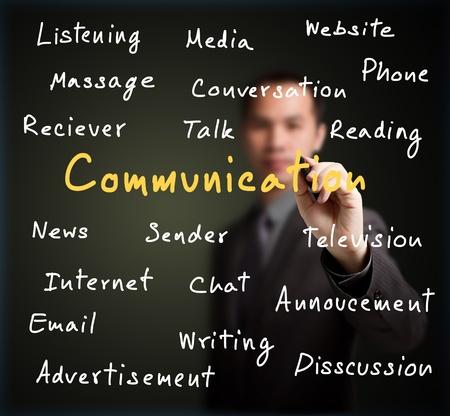 businessman writing communication concept on whiteboard photo