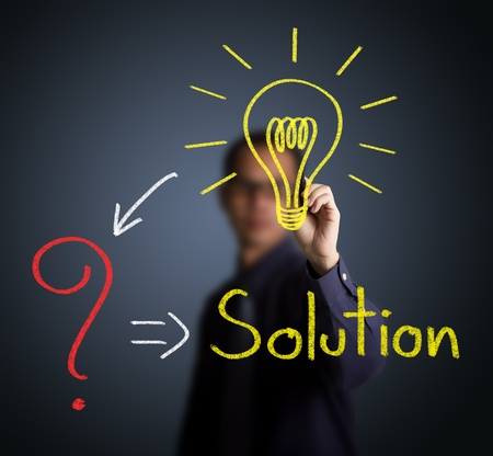 problem solution: idea or innovation change problem to solution concept written by businessman Stock Photo