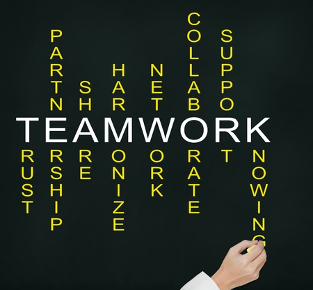 hand writing teamwork concept by crossword of relate word such as trust, partnership, share, collaborate etc