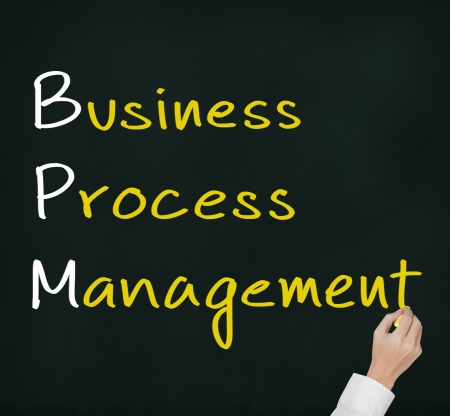 bpm: business man hand writing business process management concept   BPM