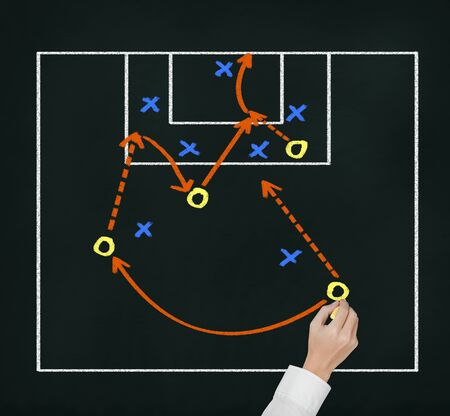 soccer coach hand writing strategy plan of attacking game photo