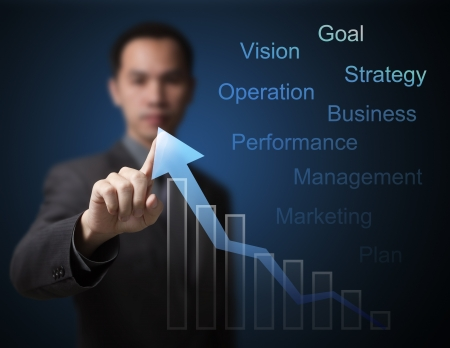 upward graph: business man pointing at  growth graph and business concept Stock Photo