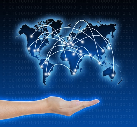 hand holding connected digital network world Stock Photo - 14035380