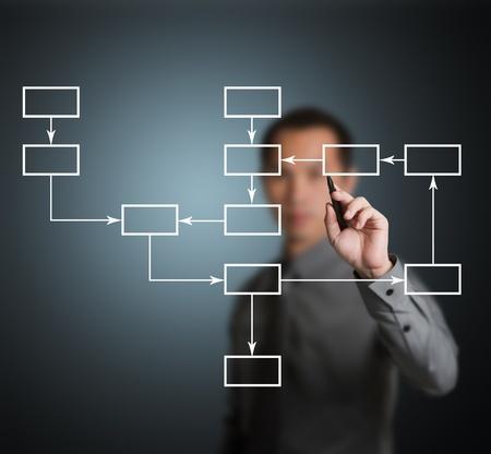 hombre escribiendo: hombre de negocios por escrito la estrategia de diagrama de flujo