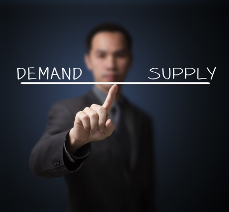 business man balance demand and supply on finger tip photo