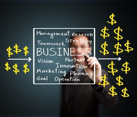 business man writing process of investment and make profit photo
