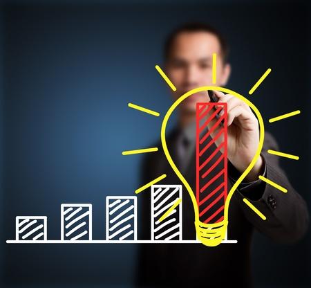 성장: 좋은 아이디어의 개념을 작성하는 비즈니스 남자는 급속한 성장과 발전을 할 수 있습니다 스톡 사진