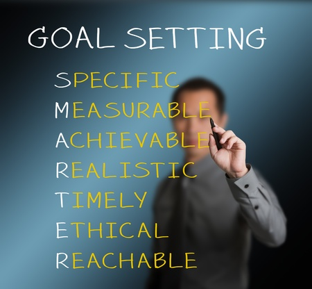 education goals: business man writing  concept of smarter goal or objective setting - specific - measurable - achievable realistic - timely - ethical - reachable