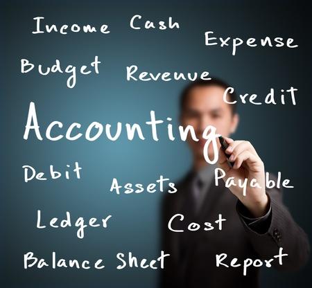 contabilidad financiera cuentas: hombre de negocios por escrito de contabilidad concepto de