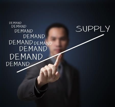 business man show shot market concept by unbalance of more demand and less supply on finger tip Stock Photo - 14228377