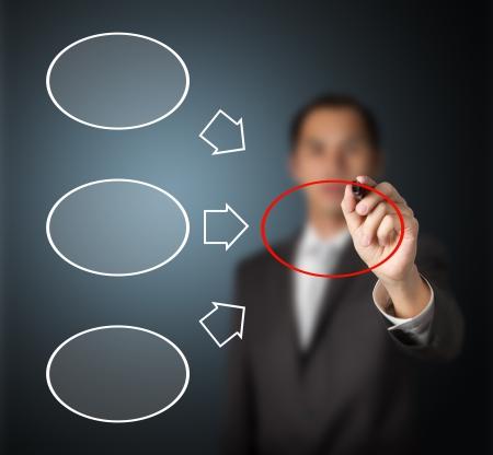 hombre escribiendo: hombre de negocios por escrito de tres componentes y el diagrama de la conclusi�n en blanco