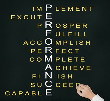 relate: business hand writing performance concept by crossword of relate word such as achieve, complete, prosper, accomplish, perfect, etc