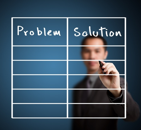 collate: business man writing problem and solution list in blank Stock Photo