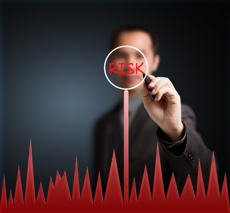risk management: business man writing risk concept