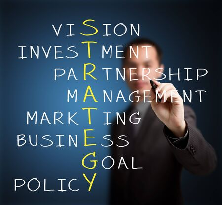 business man writing business strategy concept by crossword of vision, investment, partnership, management, marketing, goal, and policy photo