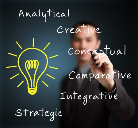 analytical: business man writing human thinking concept