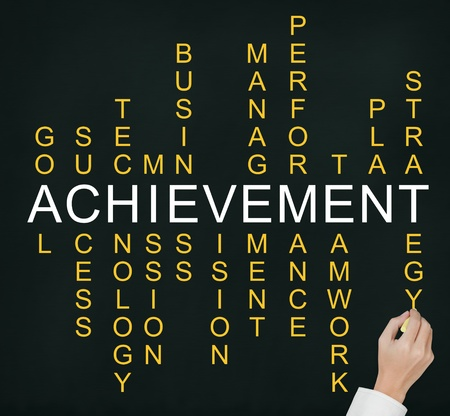 business hand writing business concept by crossword of components which make the achievement such as success, performance, plan, strategy, management, teamwork, etc  photo