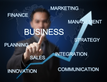 business man pointing at  business growth concept Stock Photo - 14302181