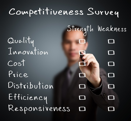 competitiveness: business man writing competitiveness survey form of business strength and weakness   quality, innovation, cost, price, distribution, efficiency, responsiveness   Stock Photo