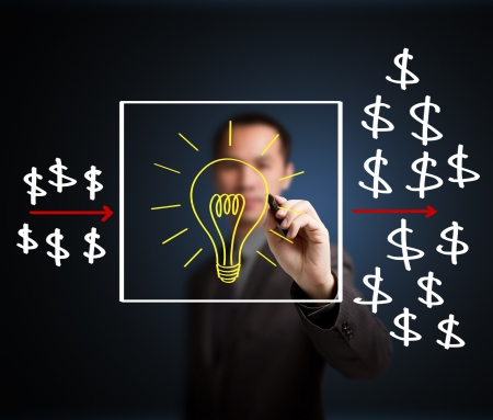 input output: business man writing investment concept,  idea process make profit