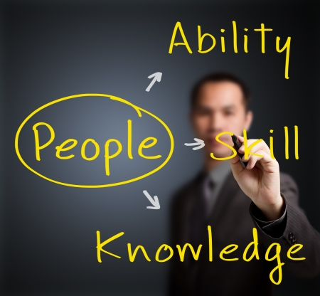 property management: business man writing people management concept ability - knowledge - skill
