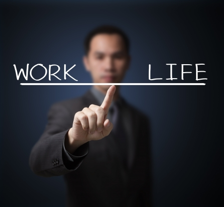work life balance: business man balance his work and life by finger tip