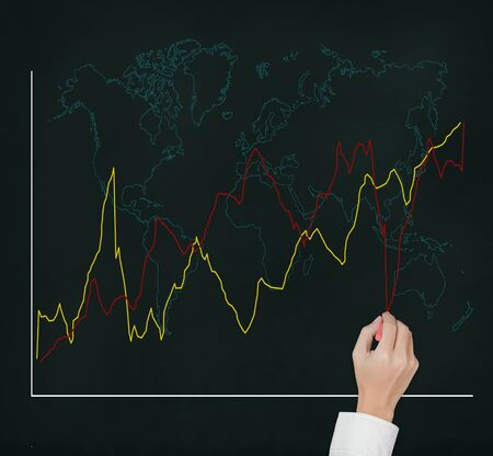 business hand writing and compare two fluctuate upward trend graphs with world map photo