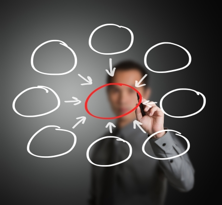 hombre escribiendo: hombre de negocios por escrito un n�cleo de centralizar el diagrama de componentes de ocho en blanco