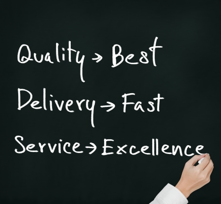 collate: business hand writing industrial product and service evaluation of quality - best, delivery - fast,  service - excellence Stock Photo