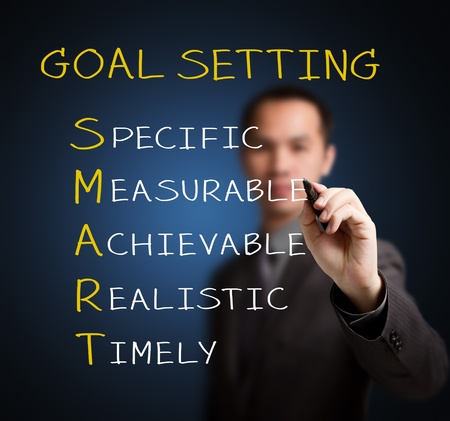 business goal: business man writing smart goal or objective setting - specific - measurable - achievable realistic - timely Stock Photo