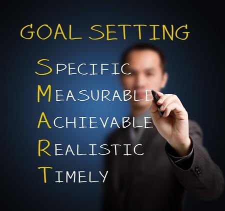 metas: hombre de negocios por escrito meta inteligente o el establecimiento de objetivos - espec�fico - medible - alcanzable real - tiempo Foto de archivo