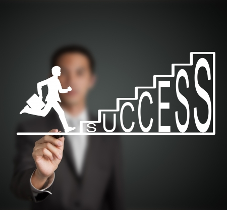 exertion: business man start to run and climb up  success stair figure drawn by a businessman Stock Photo