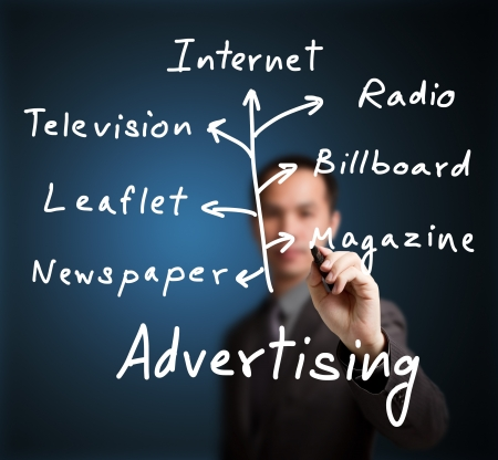 advertising network: business man writing advertising media channel Stock Photo