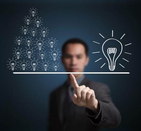 id�e lumineuse: Concept de l'id�e de nombreux petits �gal � une grande id�e Exprimez en poids sur la balance du bout du doigt l'homme d'affaires Banque d'images