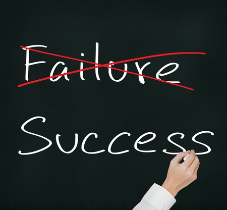 eliminate: business hand eliminate failure and make success Stock Photo