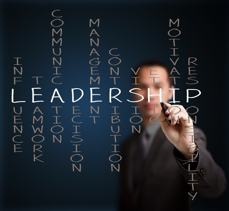 ethic: business man writing leadership skill concept by crossword of influence - teamwork - communication - decision - management - contribution - vision - ethic - motivation - responsibility Stock Photo