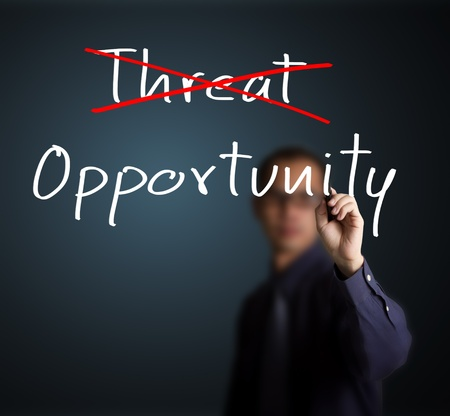 business change: business man eliminate threat and choose opportunity Stock Photo