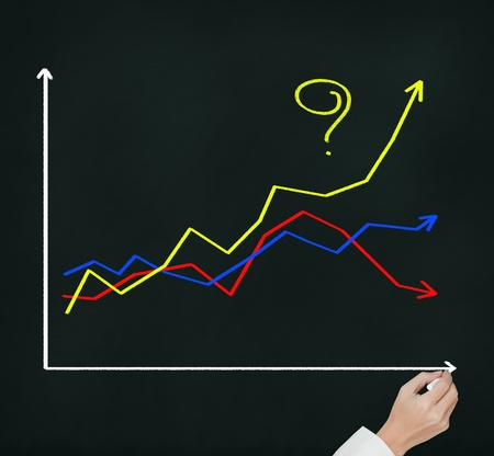business hand asking question - How to make the different\ success ? by writing question mark on highest growth financial\ graph