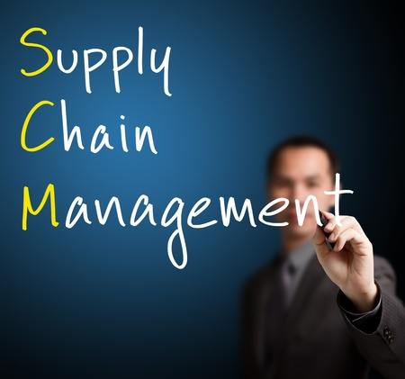 businessman writing supply chain management ( SCM) concept on whiteboard photo