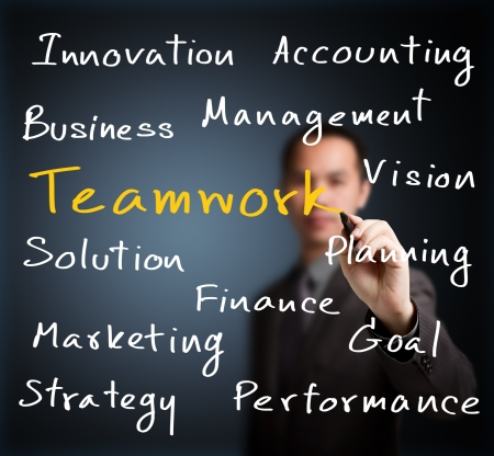 education goals: business man writing business concept with teamwork highlighted