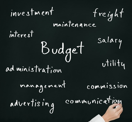 allocation: business hand writing budget allocation concept Stock Photo