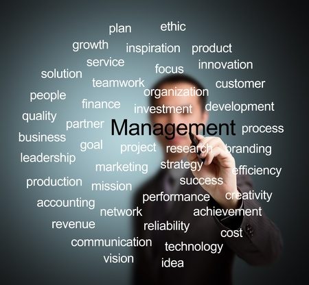 project management: business man writing management concept Stock Photo
