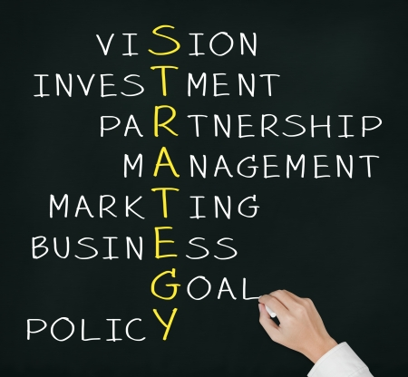 business hand writing strategy concept by crossword of vision, investment, partnership, management, marketing, goal, and policy Stock Photo - 14736907