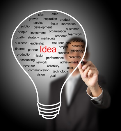 business man writing business idea light bulb photo