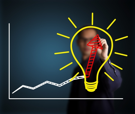 business man writing concept of good idea can make rapid growth and development Stock Photo - 14789878
