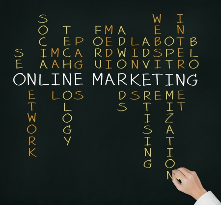 business hand writing online marketing  concept by crossword of relate word such as internet, technology, advertising, seo, website, media, etc  Stock Photo - 14831441