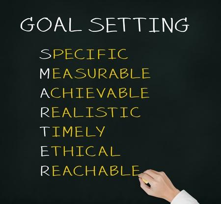 gestion empresarial: mano negocio de la escritura inteligente concepto de meta o la fijaci�n de objetivos - espec�fico - medible - alcanzables realista - a tiempo - �tico - accesible