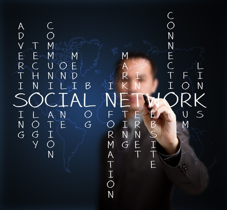 business man writing social network concept by crossword of relate word with world map background photo