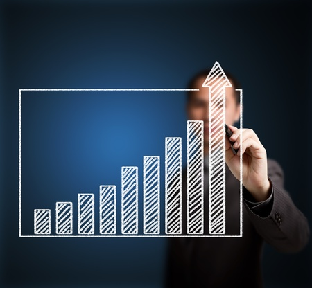 upward graph: business man writing over achievement bar chart