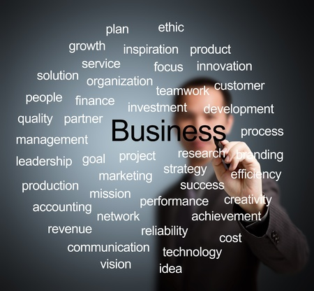 business man writing business management concept photo